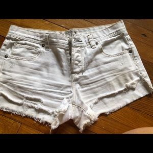 Free People white cut off shorts